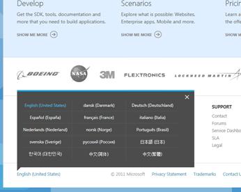 windowsazure.com languages