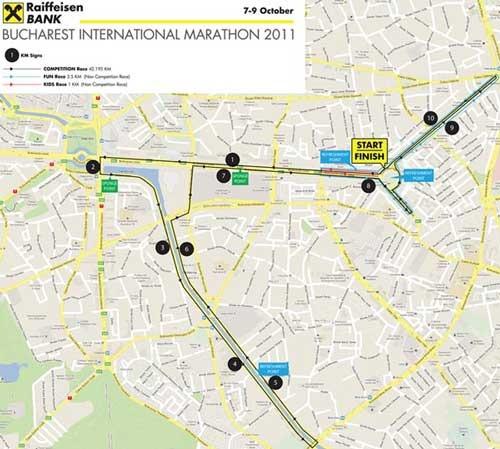 Harta Bucharest International Marathon 2011