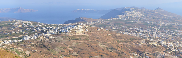 Santorini 360 panorama from Profitis Ilias mountain